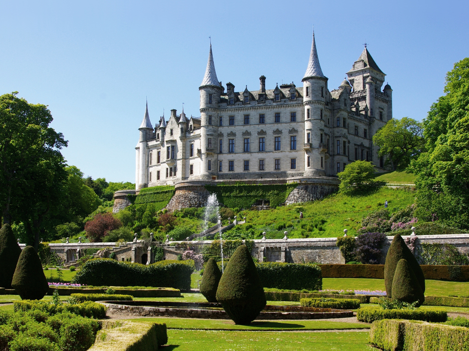 The glowing white stone Dunrobin Castle