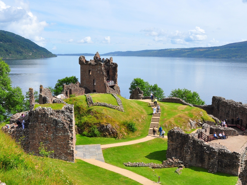 Urquhart Castle at the shores of Loch Ness
