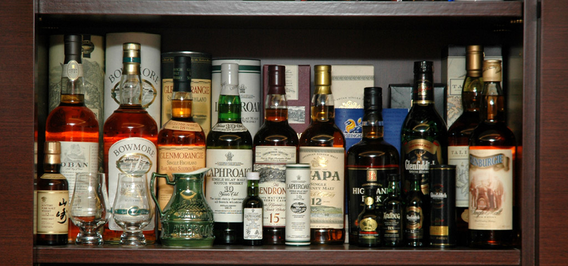 Whisky Bottles on Shelf